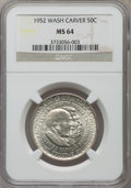 Commemorative Silver: , 1952 50C Washington-Carver MS64 NGC. NGC Census: (1657/1584). PCGS Population (2314/1596). Mintage: 2,006,292. Numismedia W...