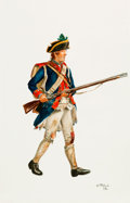 Art:Illustration Art - Mainstream, Revolutionary War Soldier: Original Don Troiani Watercolor....