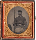 Photography:Tintypes, Civil War Era Sixth Plate Tintype of an Armed Union Sergeant....