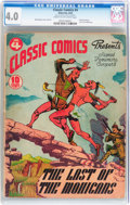 Golden Age (1938-1955):Classics Illustrated, Classic Comics #4 The Last of the Mohicans - Original Edition(Gilberton, 1942) CGC VG 4.0 Cream to off-white pages....
