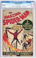 Silver Age (1956-1969):Superhero, The Amazing Spider-Man #1 UK Edition (Marvel, 1963) CGC VG+ 4.5Cream to off-white pages....