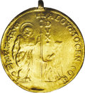 Italy:Venice, Italy: Venice. Alviso Mocenigo IV gold 10 Zecchini ND (1763-78),Friedberg 1419, NCS VG Details, mounted and damaged. This lot ist...