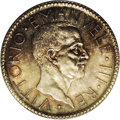 Italy: , Italy: Vittorio Emanuele III 20 Lire 1927R VI, KM69, MS66 PCGS, aspectacular example with deep russet and lilac toning and fullun...