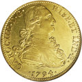 Mexico: , Mexico: Charles IIII gold 8 Escudos 1794-FM, KM159, MS62 NGC. Full,brilliant mint luster with nice golden color. A premium example...