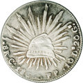 Mexico: , Mexico: Cap and Rays 8 Reales 1865 Ca-FP, KM, Res-Ca39 (ExtremelyRare), VF-XF with slight softness on the date. A nice,problem-fre...