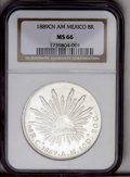 Mexico: , Mexico: Cap and Rays 8 Reales 1889 Cn-AM, KM377.3, MS66 NGC.Blazing white luster with near-flawless surfaces. A perfect, almostuni...