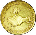 Mexico: , Mexico: Hand on Book gold 8 Escudos 1825 Mo-JM, KM383.9, hairlinedXF with softness in the central areas....