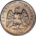 Mexico: , Mexico: Republic pattern 10 Centavos 1868 Mo-C, KM-Pn109, XFdetails with moderate to heavy contact marks. An extremely rarepattern...