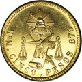 Mexico: , Mexico: Republic gold 5 Pesos 1903 Mo-M, KM412.6, prooflike BU withlight hairlines....