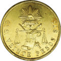 Mexico: , Mexico: Republic gold 20 Pesos 1871 Go-S, KM414.4, well struck AUwith nice mint luster....