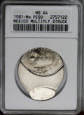 Mexico: , Mexico: Republic 1 Peso Mint Error 1981, KM460, MS64 ANACS, thispiece is triple struck, the first strike is approximately 80%off-c...