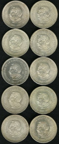 Mexico: , Mexico: Silver 10 Peso Constitution lot including: (10) 1957Constitution 10 Pesos, KM475, all UNC, about half are Choice. Asold ... (Total: 10 Coins Item)