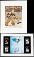 Hockey Collectibles:Photos, Ray Bourque and Gary Cheevers Signed Memorabilia Lot of 2....