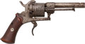 Handguns:Double Action Revolver, Unmarked Belgian Pinfire Double Action Pocket Revolver....