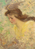 Fine Art - Painting, European:Modern  (1900 1949)  , FREDERICK STUART CHURCH (American, 1842-1924). Young FloraMaiden, 1909. Oil on canvas. 22 x 16-1/4 inches (55.9 x 41.3...