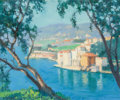 Paintings, RAYMOND THIBESART (French, 1874-1968). French Coast Through the Trees. Oil on canvas. 20 x 24 inches (50.8 x 61.0 cm). S...