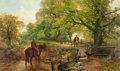 Fine Art - Painting, European:Antique  (Pre 1900), FREDERICK WILLIAM HULME (British, 1816-1884). Sweet Summertime(At the Ford), 1867. Oil on canvas. 30-1/8 x 50-1/4 inche...