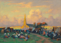 MATHURIN JANSSAUD (French, 1857-1940) Church Festival in Brittany Pastel on paper 17-1/2 x 25 inc