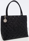 Luxury Accessories:Bags, Chanel Black Patent Leather Medallion Tote Bag with Silver Hardware. ...