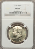 Kennedy Half Dollars: , 1970-D 50C MS66 NGC. NGC Census: (119/5). PCGS Population (417/11).Mintage: 2,150,000. Numismedia Wsl. Price for problem f...
