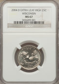 Statehood Quarters, 2004-D 25C Wisconsin Extra Leaf High MS67 NGC. NGC Census: (1/0).PCGS Population (2/0). Numismedia Wsl. Price for problem...