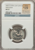 Statehood Quarters, 2004-D 25C Wisconsin Extra Leaf Low MS67 NGC. Rank #19 of 100Greatest U.S. Modern Coins, 1st ed. NGC Census: (1/0). PCGS P...