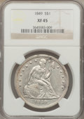 Seated Dollars: , 1849 $1 XF45 NGC. NGC Census: (34/217). PCGS Population (66/226).Mintage: 62,600. Numismedia Wsl. Price for problem free N...