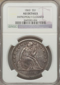 Seated Dollars: , 1860 $1 -- Improperly Cleaned -- NGC Details. AU. NGC Census:(7/85). PCGS Population (16/120). Mintage: 217,600. Numismedi...