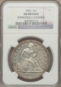 Seated Dollars: , 1845 $1 -- Improperly Cleaned -- NGC Details. AU. NGC Census:(9/101). PCGS Population (41/71). Mintage: 24,500. Numismedia...