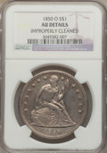 Seated Dollars: , 1850-O $1 -- Improperly Cleaned -- NGC Details. AU. NGC Census:(11/67). PCGS Population (24/42). Mintage: 40,000. Numismed...