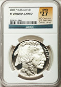 Modern Issues: , 2001-P $1 Buffalo Silver Dollar PR70 Ultra Cameo NGC. Rank #27 of100 Greatest U.S. Modern Coins, 1st ed. NGC Census: (1553...
