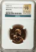 Sacagawea Dollars, 2000-P $1 Sacagawea, Goodacre Presentation MS67 Prooflike NGC. Rank#70 of 100 Greatest U.S. Modern Coins, 1st ed. NGC Cens...