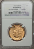 Indian Eagles, 1908-S $10 -- Obverse Improperly Cleaned -- NGC Details. AU. NGCCensus: (52/564). PCGS Population (76/461). Mintage: 59,85...