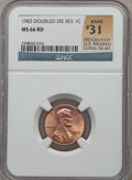 Lincoln Cents: , 1983 1C Doubled Die Reverse MS66 Red NGC. Rank #31 of 100 GreatestU.S. Modern Coins, 1st ed. NGC Census: (280/123). PCGS P...