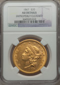 Liberty Double Eagles: , 1867 $20 -- Improperly Cleaned -- NGC Details. AU. NGC Census: (20/315). PCGS Population (27/265). Mintage: 251,065. Numism...