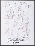 Mainstream Illustration, Dr. Ruth Westheimer. Doodle for Hunger. Crayon on paper. 9 x12 in.. Signed. ...