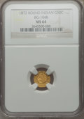 California Fractional Gold: , 1872 50C Indian Round 50 Cents, BG-1048, Low R.4, MS64 NGC. NGCCensus: (2/0). PCGS Population (25/7). ...