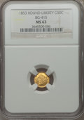 California Fractional Gold: , 1853 50C Liberty Round 50 Cents, BG-415, Low R.5, MS63 NGC. NGCCensus: (2/0). PCGS Population (10/9). ...