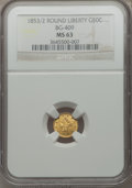 California Fractional Gold: , 1853 50C Liberty Round 50 Cents, BG-409, R.3, MS63 NGC. NGC Census:(6/1). PCGS Population (18/10). ...
