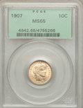 Barber Dimes: , 1907 10C MS65 PCGS. PCGS Population (45/14). NGC Census: (43/43).Mintage: 22,220,576. Numismedia Wsl. Price for problem fr...