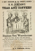 Miscellaneous:Ephemera, Comic Handbill Advertisement for R.H. Jameson's Teas and Coffees.Advertisement with comic taken from the Canadian comic per...