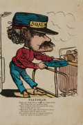 """Miscellaneous:Ephemera, Comic Broadside With Poem and Hand-Colored Illustration Depicting aBrakeman. [n.d.]. Circa late Nineteenth Century. 6.25"""" x..."""