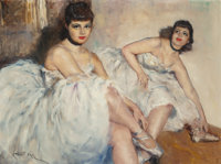 FRIED PAL (Hungarian/American, 1893-1976) Two Ballerinas Oil on canvas 30 x 40 inches (76.2 x 101
