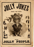 "Books:Periodicals, [Comic Illustration]. Jolly Jokes for Jolly People. NewYork: M.J. Ivers, [n.d.]. 8"" x 11"". Illustrations throughout..."