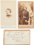 Autographs:Military Figures, General John H. Martindale: Two Cartes de Visite and Clipped Signature.... (Total: 3 )