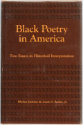 Books:Literature 1900-up, Blyden Jackson and Louis D. Rubin, Jr. Black Poetry in America: Two Essays in Historical Interpretation. Baton Rouge...