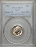 Roosevelt Dimes: , 1982 10C No P MS67 PCGS. PCGS Population (78/4). NGC Census:(33/0). Numismedia Wsl. Price for problem free NGC/PCGS coin ...