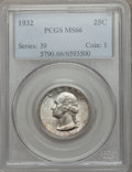 Washington Quarters: , 1932 25C MS66 PCGS. PCGS Population (202/3). NGC Census: (87/2).Mintage: 5,404,000. Numismedia Wsl. Price for problem free...