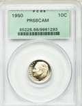 Proof Roosevelt Dimes: , 1950 10C PR68 Cameo PCGS. PCGS Population (16/0). NGC Census:(26/1). . From The Brian Loncar Collection, Part II....