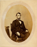 Photography:Studio Portraits, Abraham Lincoln: Large Albumen Portrait of Lincoln by Matthew Brady, February 9, 1864....